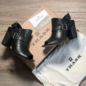 NWT Trask Miriam Buckle Strap Open Toe Booties